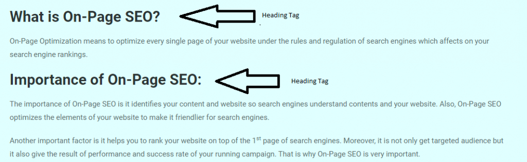 Heading Tags - On-Page SEO